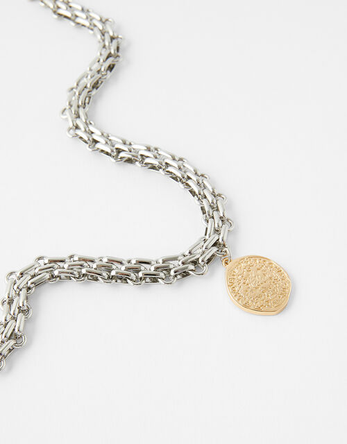 Mixed Metal Chain and Coin Necklace, , large