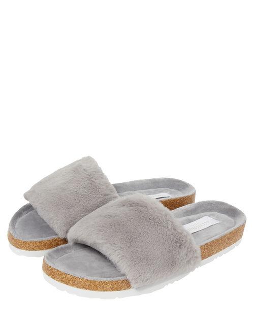 Faux Fur Sliders, Grey (GREY), large