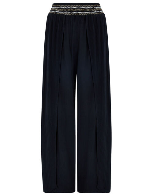 Smocked Wide Leg Beach Trousers, Black (BLACK), large