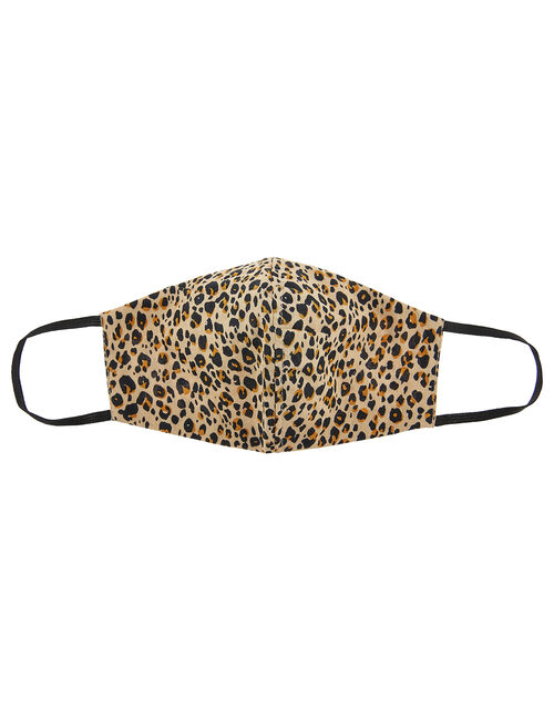 Leopard Face Covering in Pure Cotton, , large