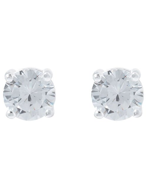 Sterling Silver Round Cut Solitaire Earrings, , large
