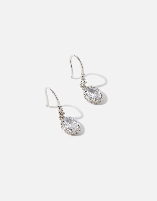Platinum-Plated Oval Crystal Drop Earrings, , large