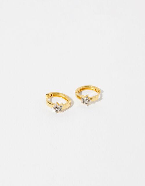 Gold Vermeil White Topaz Star Hoop Earrings, , large