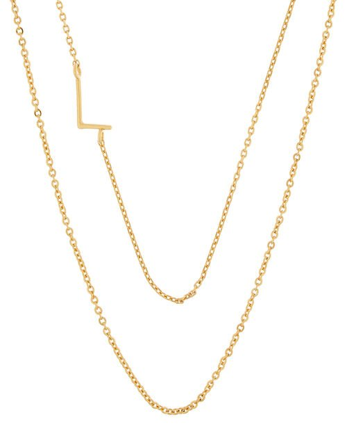 Gold-Plated Double Chain Initial Necklace - L, , large