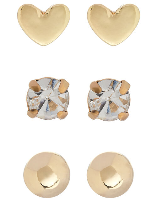 Heart, Ball and Crystal Stud Earring Set, , large
