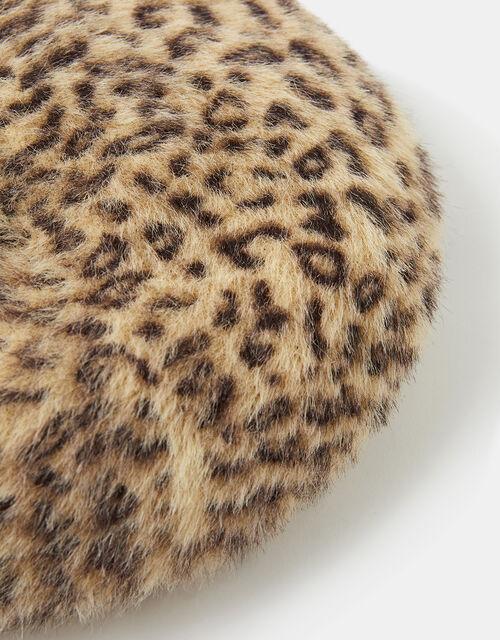 Fluffy Leopard Beret, , large