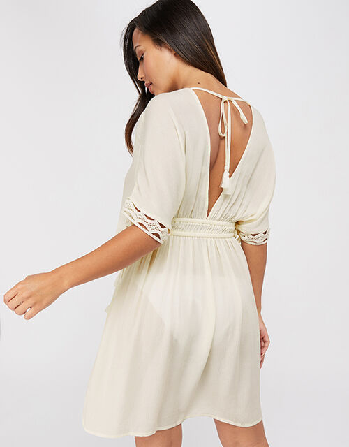 Lace Trim Crinkle Kaftan, Cream (CREAM), large