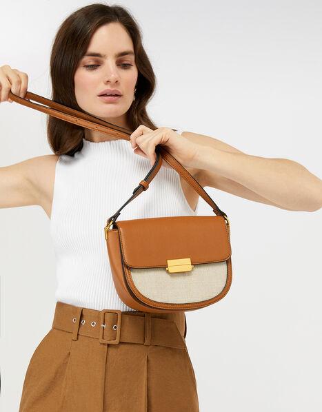 Linen Panel Cross-Body Bag Tan, Tan (TAN), large