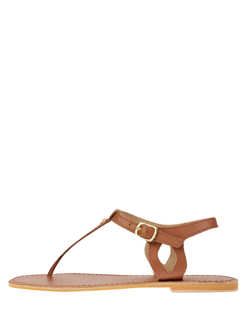 Seashell Charm Leather Sandals, Tan (TAN), large