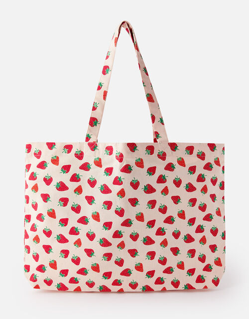 Strawberry Print Canvas Shopper Bag , , large