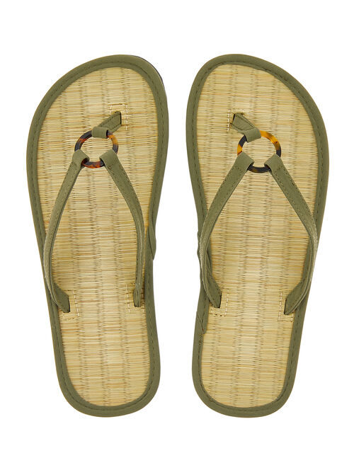 Resin Ring Seagrass Flip Flops, Green (KHAKI), large