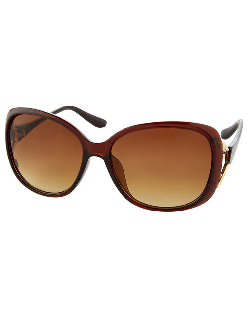 Rachel Metal Detail Wrap Sunglasses, , large