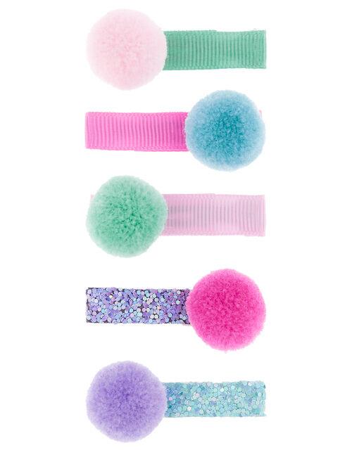 Colourful Pom-Pom Hair Slide Set, , large