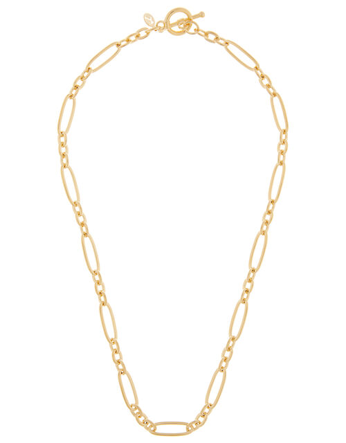 Gold-Plated Fancy Link Chain Necklace, , large