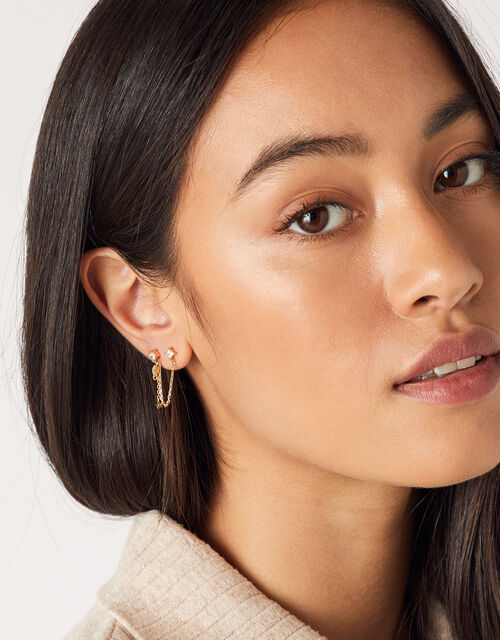 Crystal Chain Link Flat-Back Earring, , large