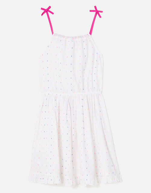 Dobby Spot Dress, White (WHITE), large