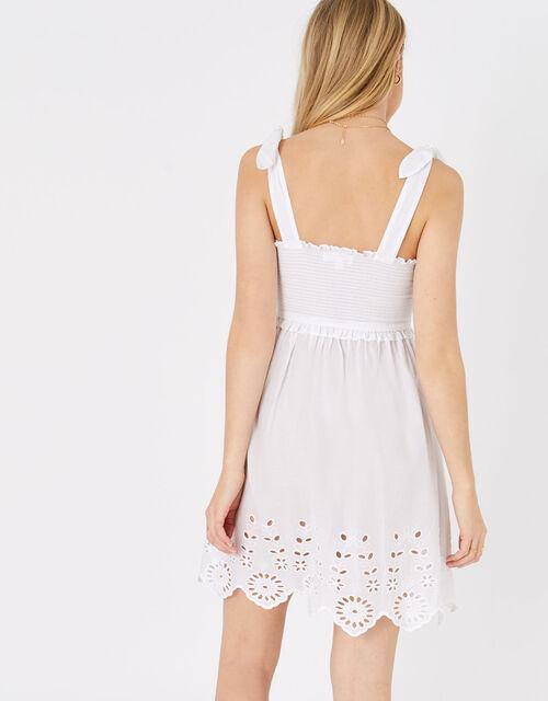 Broderie Hem Bandeau Dress, White (WHITE), large