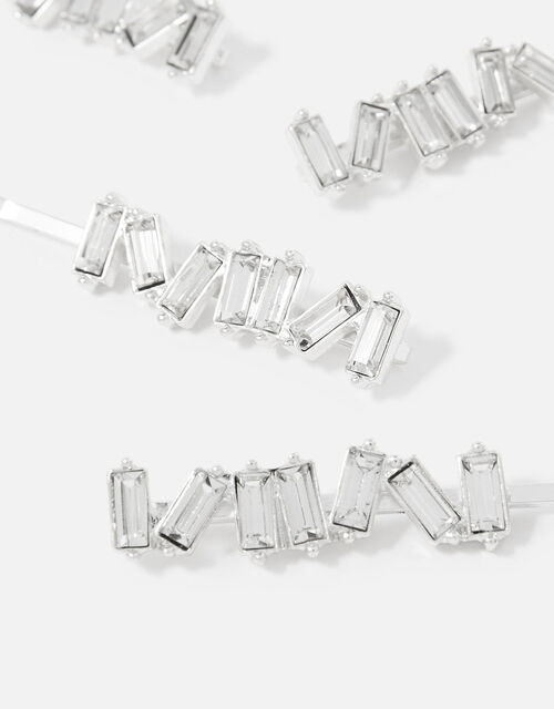 BRIDAL Diamante Baguette Hair Grip Set, , large