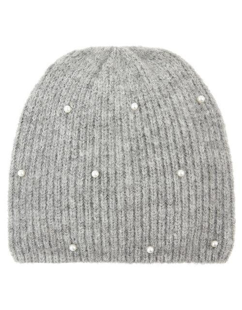 Pearl Beanie Hat, Grey (GREY), large