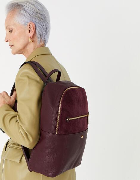 Beth Suedette Backpack  Red, Red (BURGUNDY), large