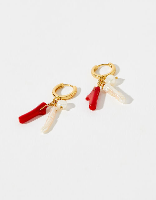 Gold-Plated Pearl Charmy Earrings, , large