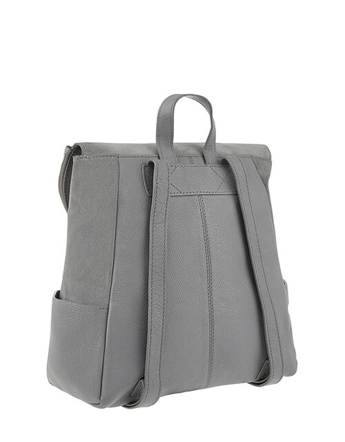 Isabel Zip Flap Leather Backpack, Grey (GREY), large