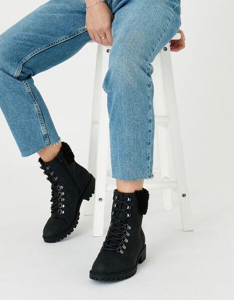 Borg Trim Biker Boots Black, Black (BLACK), large