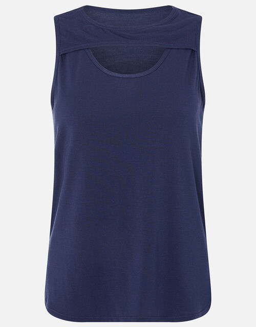 Cut-Out Vest Top, Blue (NAVY), large
