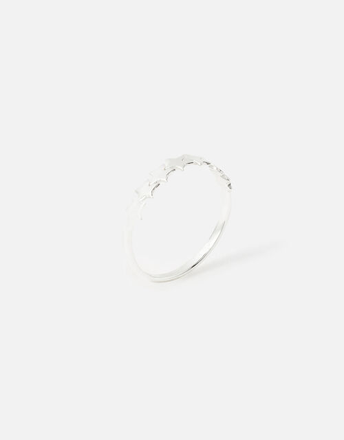 Sterling Silver Star Band Ring, Silver (ST SILVER), large
