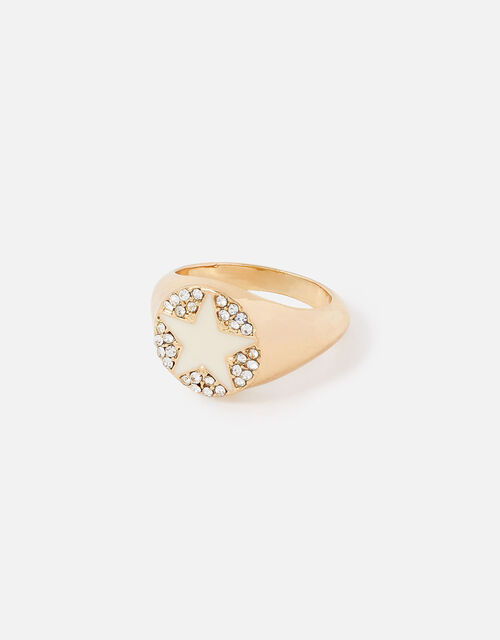 New Decadence Pave Star Signet Ring, White (CRYSTAL), large