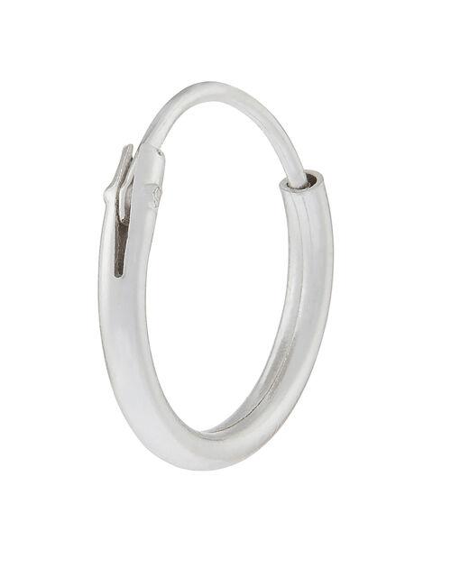 Sterling Silver Single Plain Hoop Earring, , large