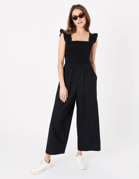 Ruffle Strap Smocked Jumpsuit Black, Black (BLACK), large