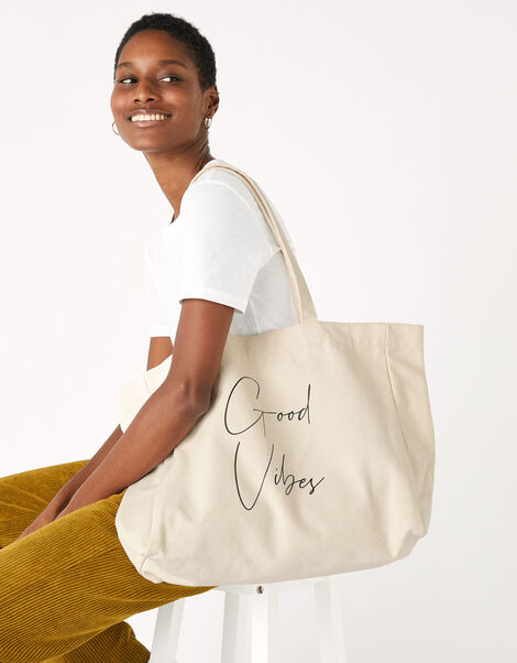 GOOD VIBES Slogan Shopper Bag, , large