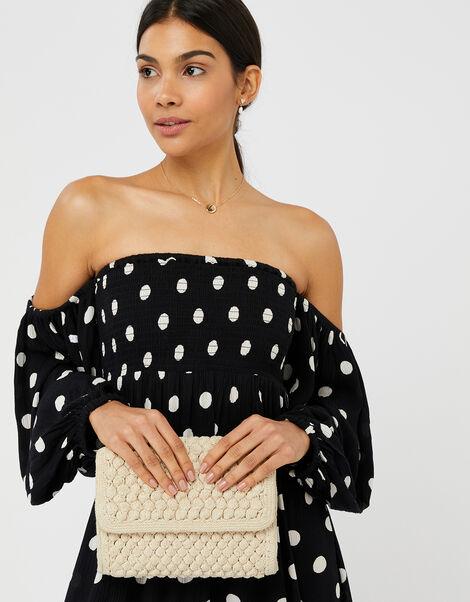 Polka-Dot Puff Sleeve Midi Dress Black, Black (BLACK/WHITE), large