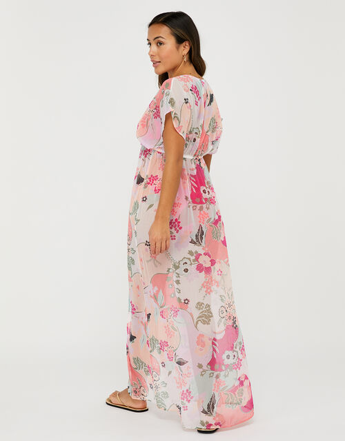 Printed Chiffon Maxi Dress, Multi (PASTEL-MULTI), large