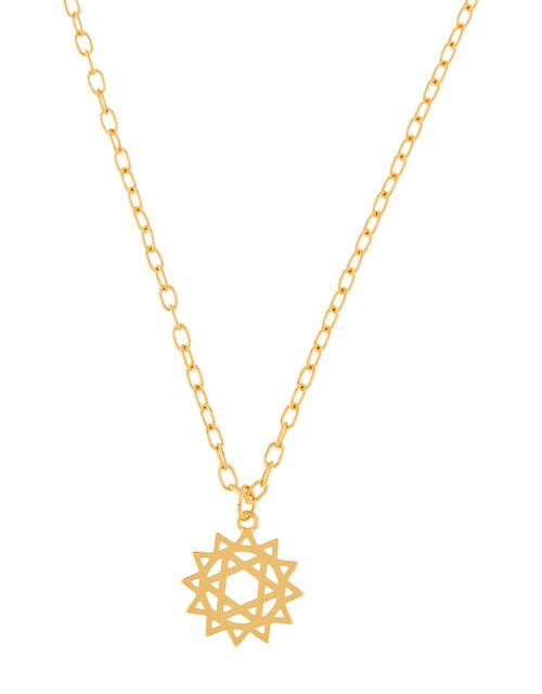 Gold-Plated Heart Chakra Pendant Necklace, , large
