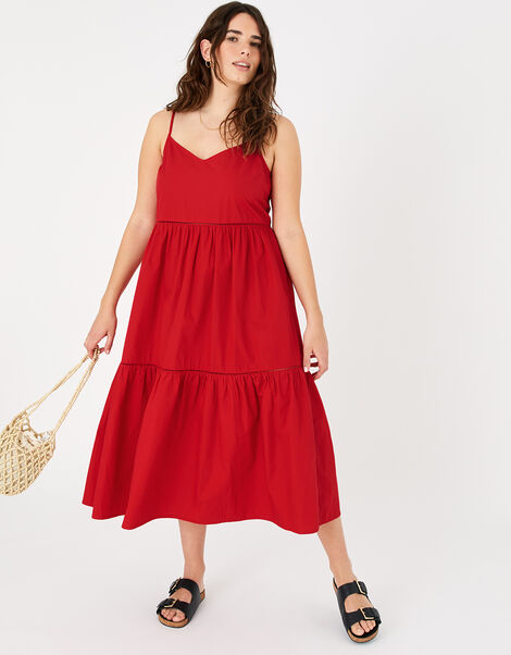Poplin Tiered Maxi Dress Red, Red (RED), large