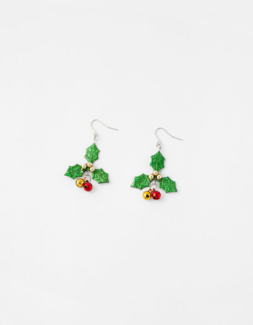 Holly Jingle Bell Short Drop Earrings, , large