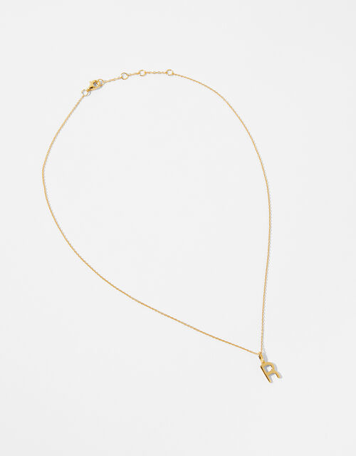 Gold Vermeil Initial Pendant Necklace - R, , large