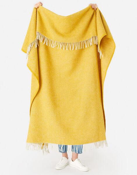 Tweedmill Tassel Throw in Pure Wool Yellow, Yellow (YELLOW), large