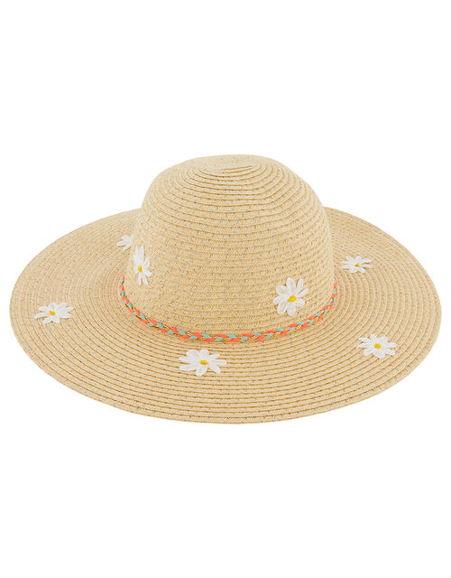 Daisy Sparkle Floppy Hat, Natural (NATURAL), large