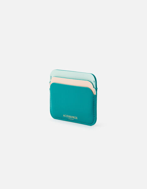 Curve Colour-Block Card Holder  Green, Green (GREEN), large