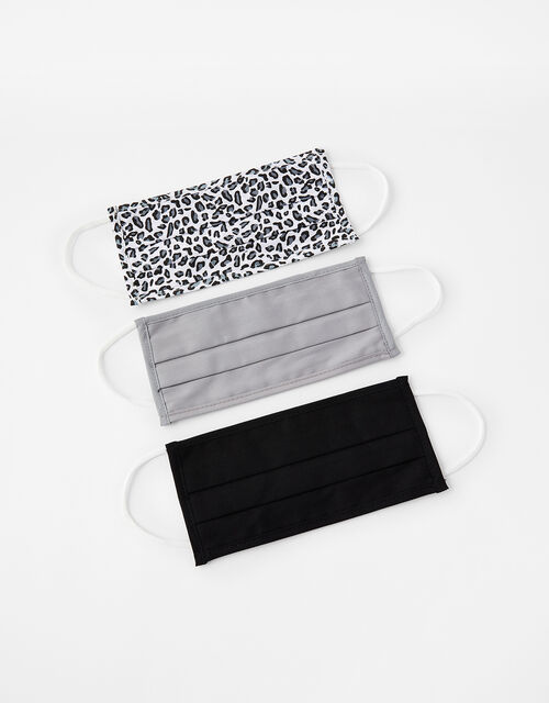 Leopard and Plain Face Covering Multipack, , large
