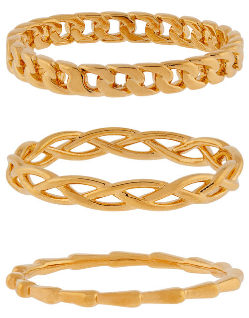 Gold-Plated Chain Ring Set, Gold (GOLD), large