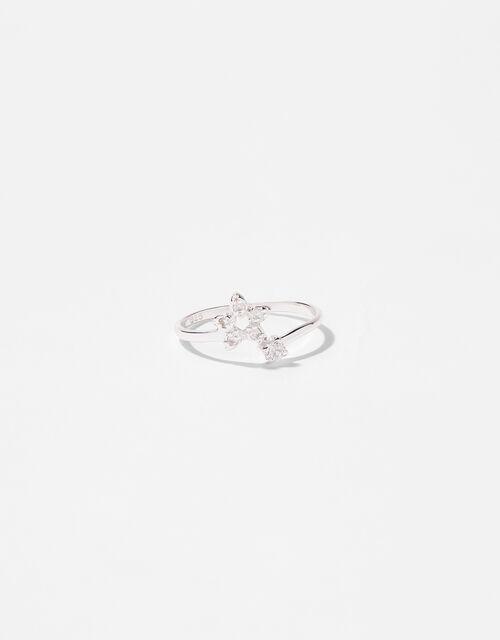 Sterling Silver Sparkle Star Adjustable Ring, White (ST CRYSTAL), large