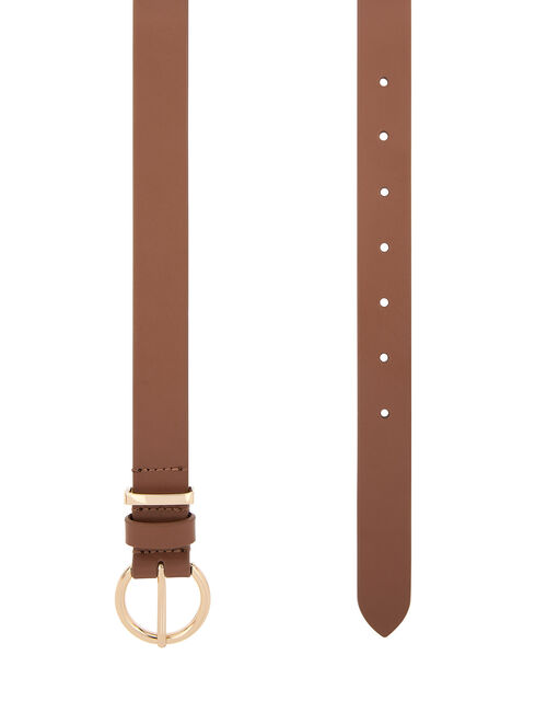 Round Buckle Leather Jeans Belt, Tan (TAN), large