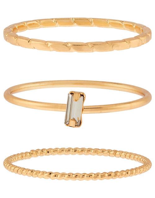 Baguette Crystal Stacking Ring Set, White (CRYSTAL), large