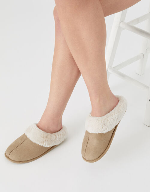 Suedette Mule Slippers, Tan (TAN), large