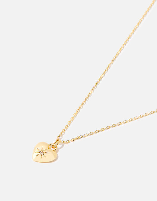 Gold-Plated Heart Pendant Necklace, , large