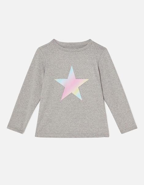 Girls Long Sleeve Star T-Shirt Grey, Grey (GREY), large
